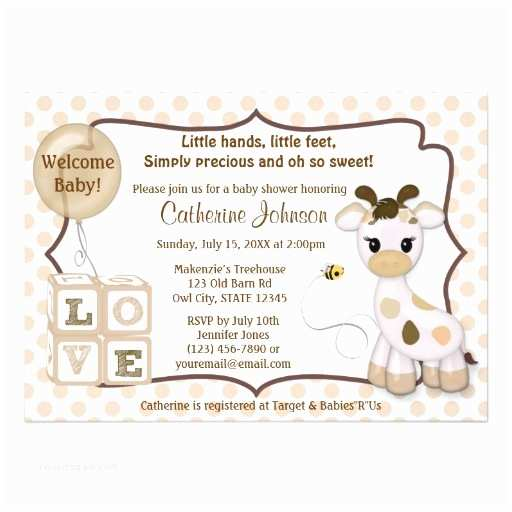 "Giraffe Baby Shower Invitations Snickerdoodle Giraffe Baby Shower Invitations 5"" X 7"