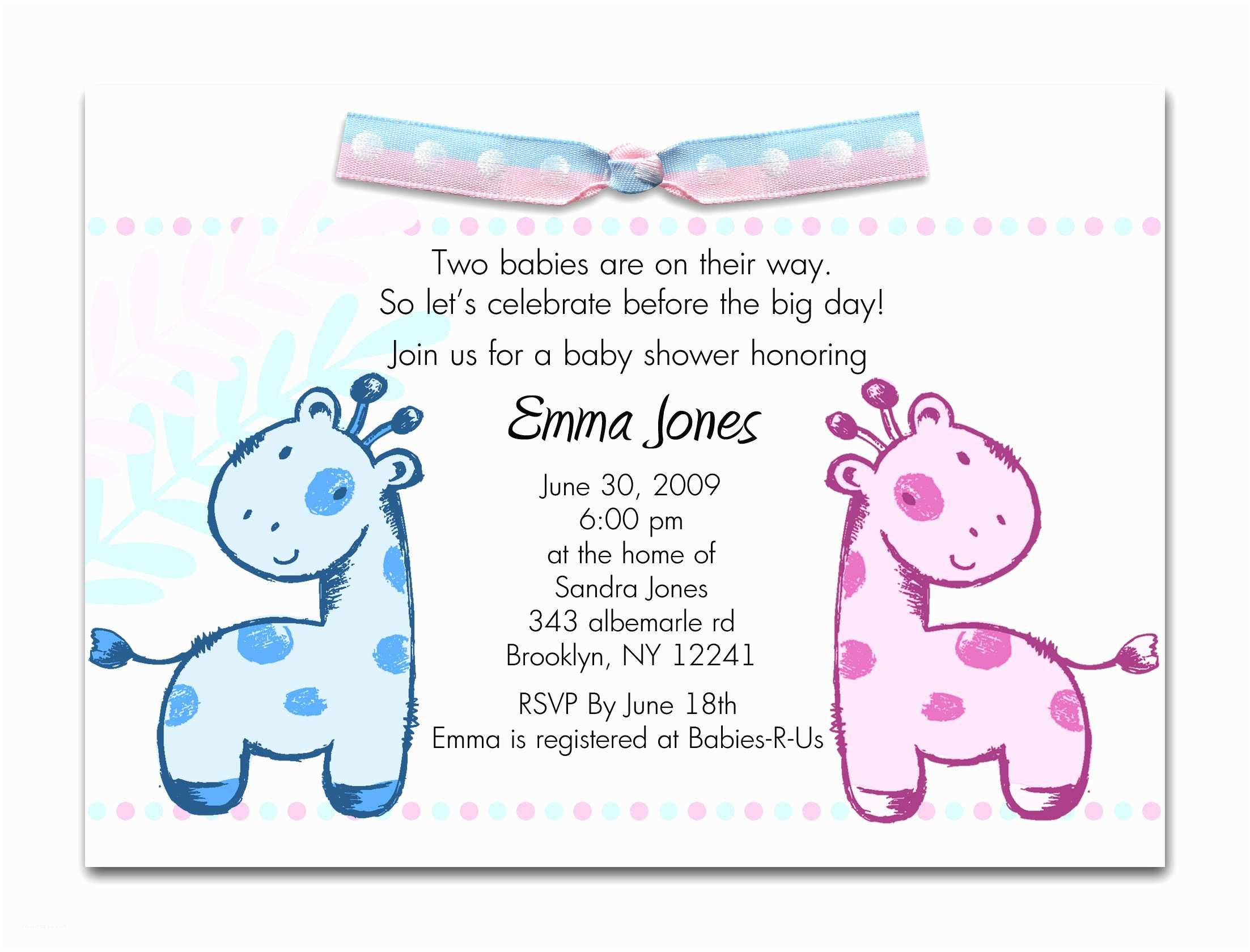 Girl Baby Shower Invitation Wording Printable Baby Shower Invitations Twins