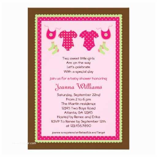 "Girl Baby Shower Invitation Wording Twin Girls Baby Shower Invitation 5"" X 7"" Invitation Card"