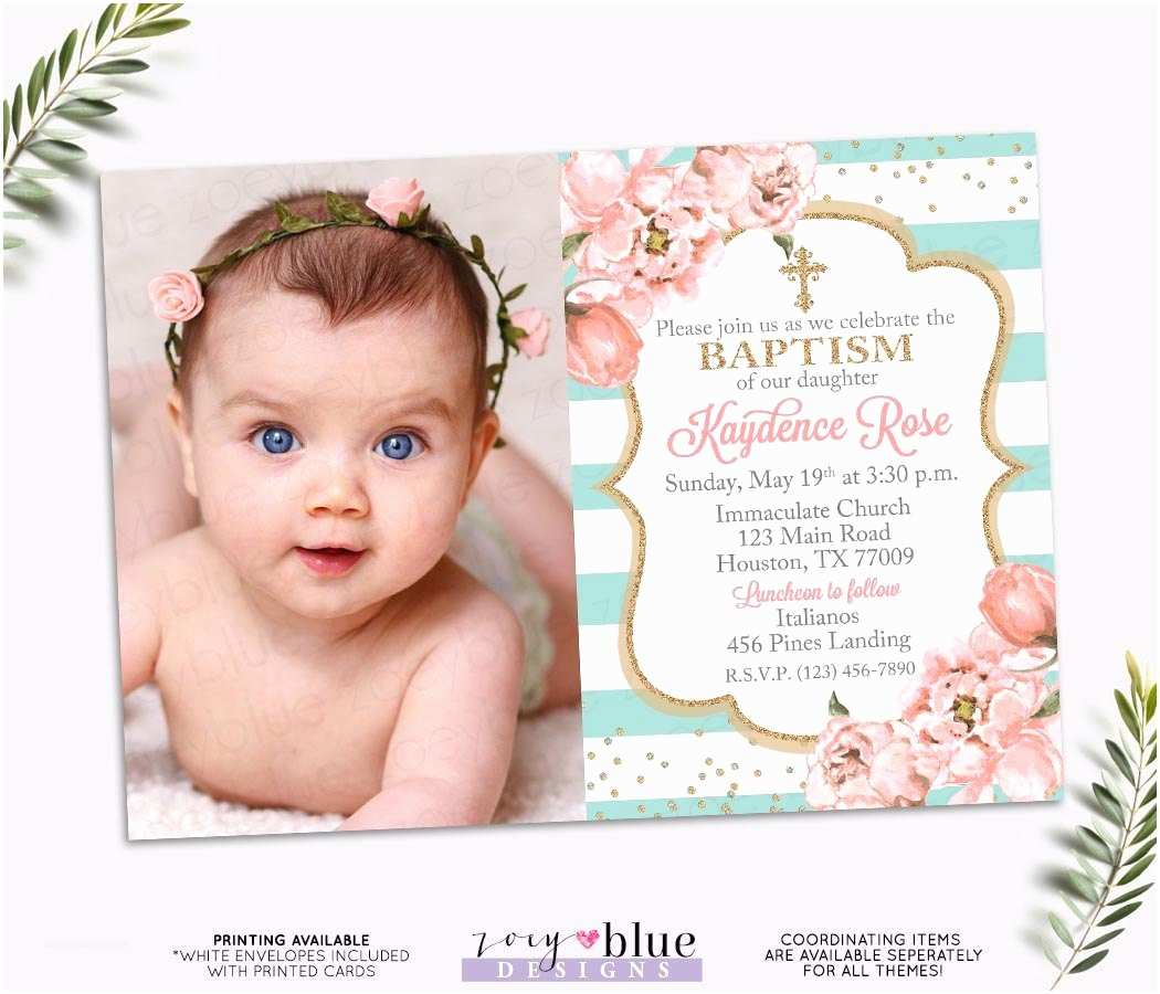 Girl Baptism Invitations Girl Baptism Invitation Blush Pink and Turquoise Baptism