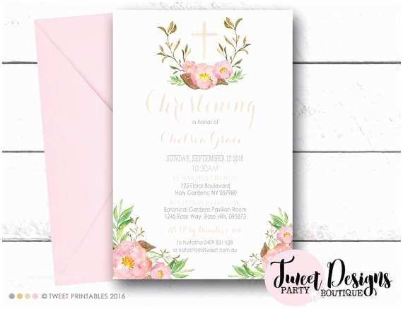 Girl Baptism Invitations Pink Floral Christening Invitation Girl Christening