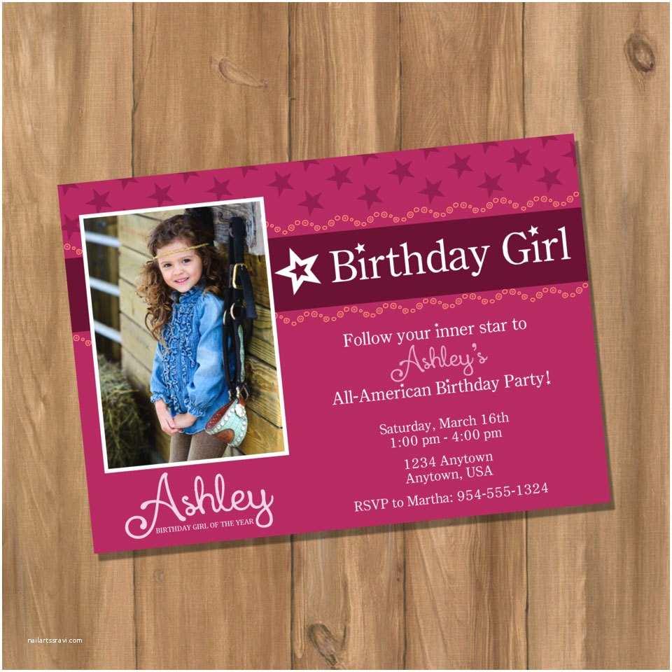 Girl Birthday Invitations Amazing American Girl Birthday Party Invitations