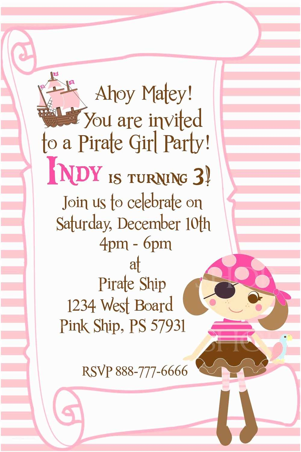 Girl Birthday Invitations Pirate Girl Party Invitation Card for A Girl Customize