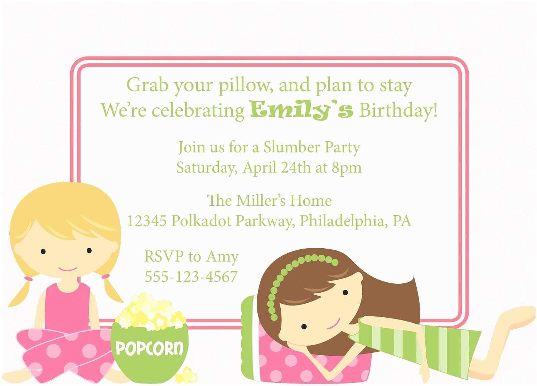 Girl Birthday Invitations Slumber Party Invitation Sleepover Invite Birthday Party