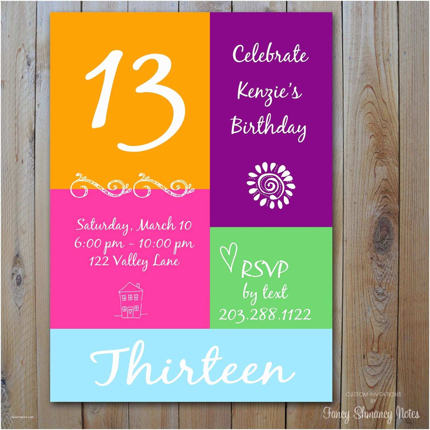 Girl Birthday Party Invitations 13th Birthday Invitation Girl S Birthday by