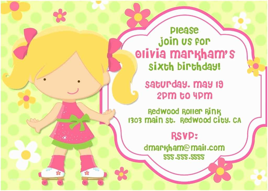 Girl Birthday Party Invitations 6th Girl Birthday Party Invitation Card Example Emuroom