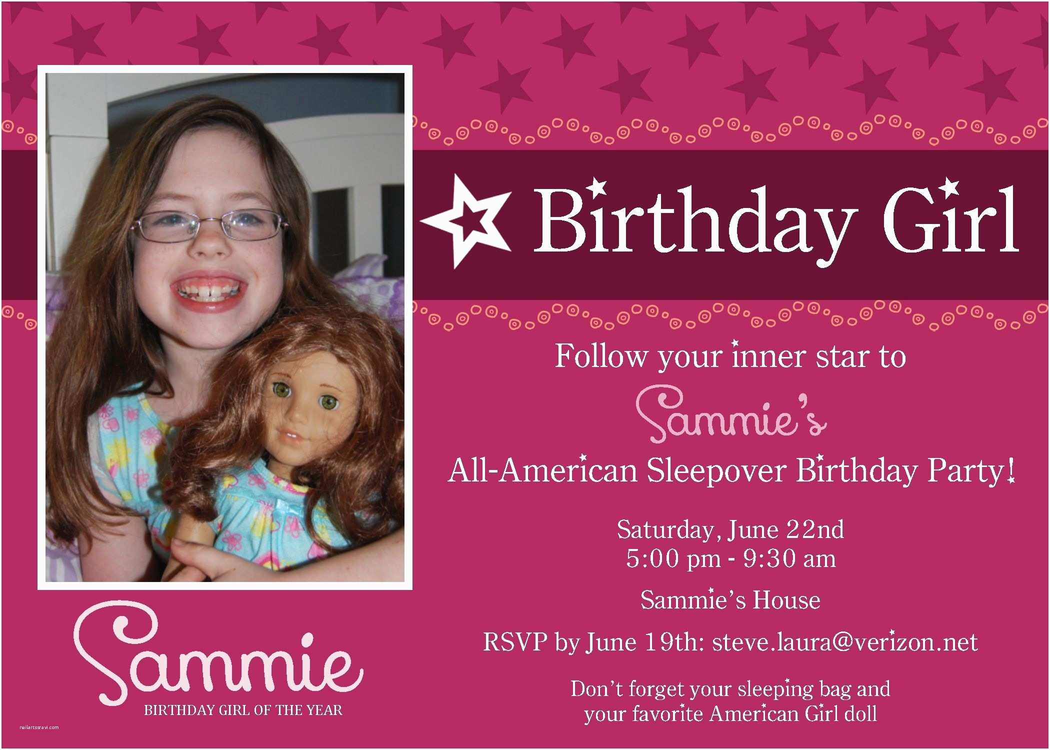 Girl Birthday Party Invitations American Girl Party Invitation Party Time