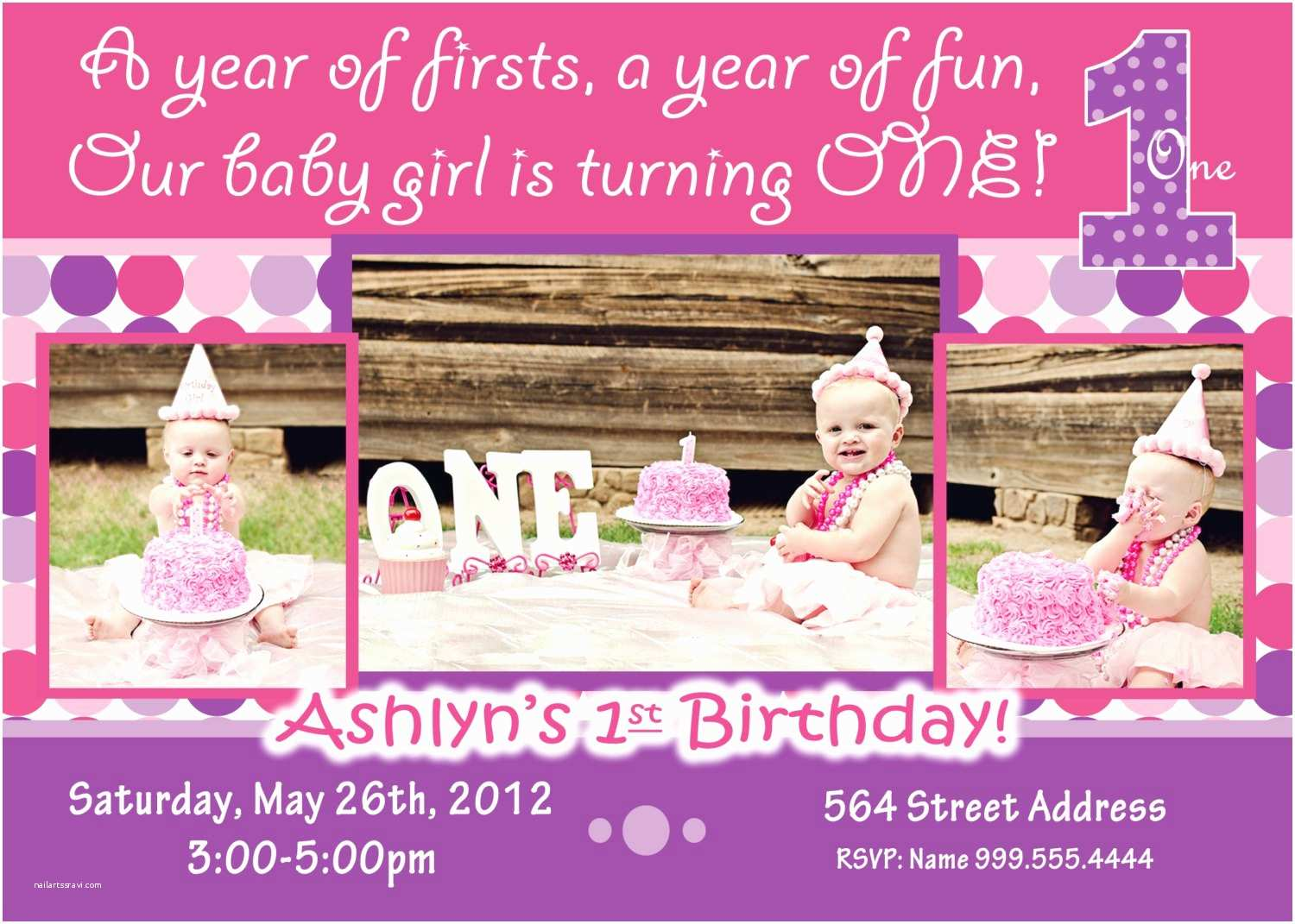 Girl Birthday Party Invitations Baby Girl 1st Birthday Invitation