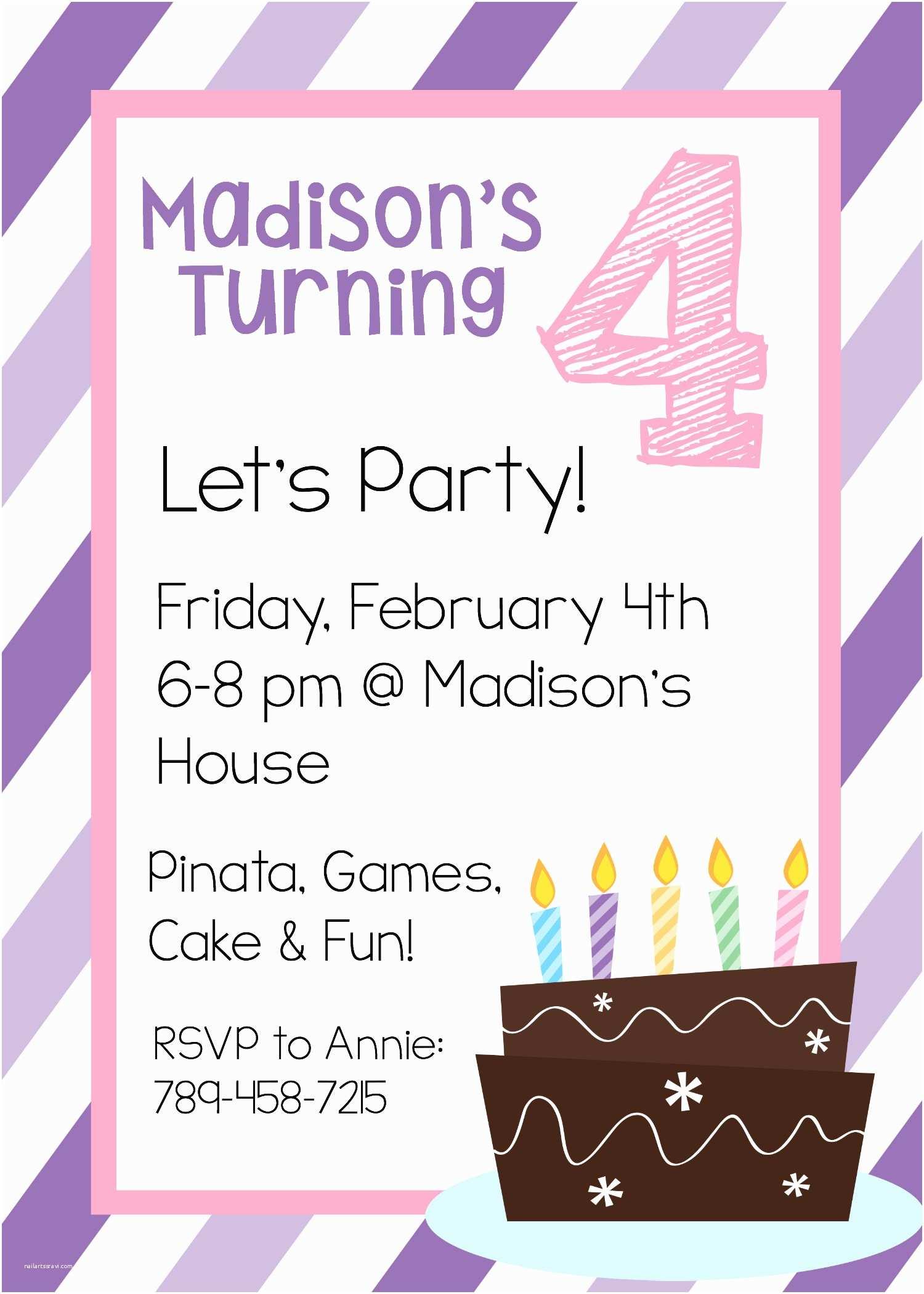 Girl Birthday Party Invitations Free Printable Birthday Invitation Templates