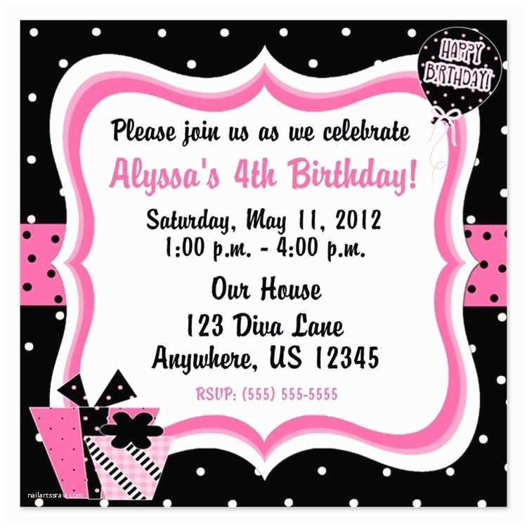 Girl Birthday Party Invitations Girls 4th Birthday Invitations for Girls 4th Birthday