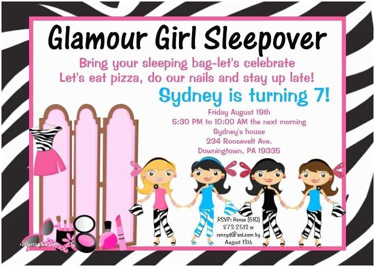 Girl Birthday Party Invitations Glamour Girl Birthday Party Invitations