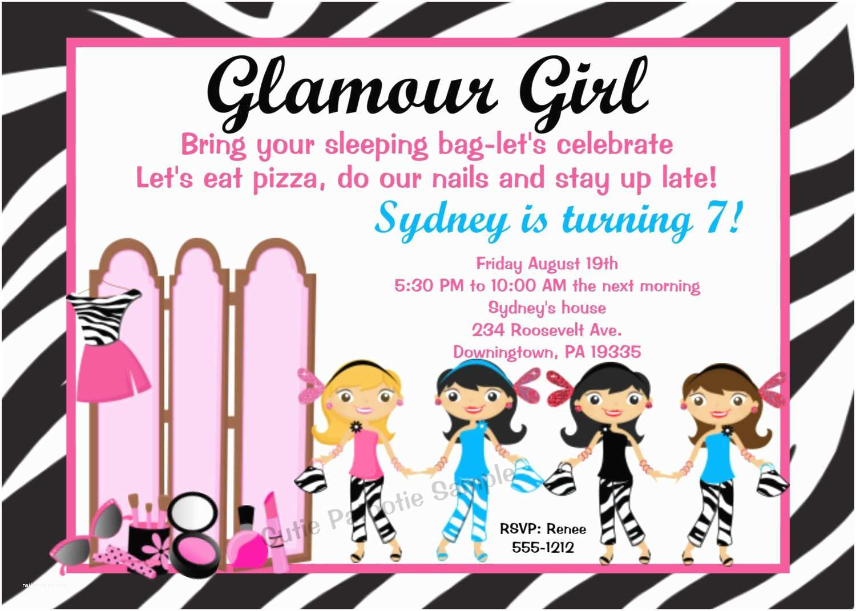 Girl Birthday Party Invitations Glamour Girl Invitations Glamour Girl Birthday by