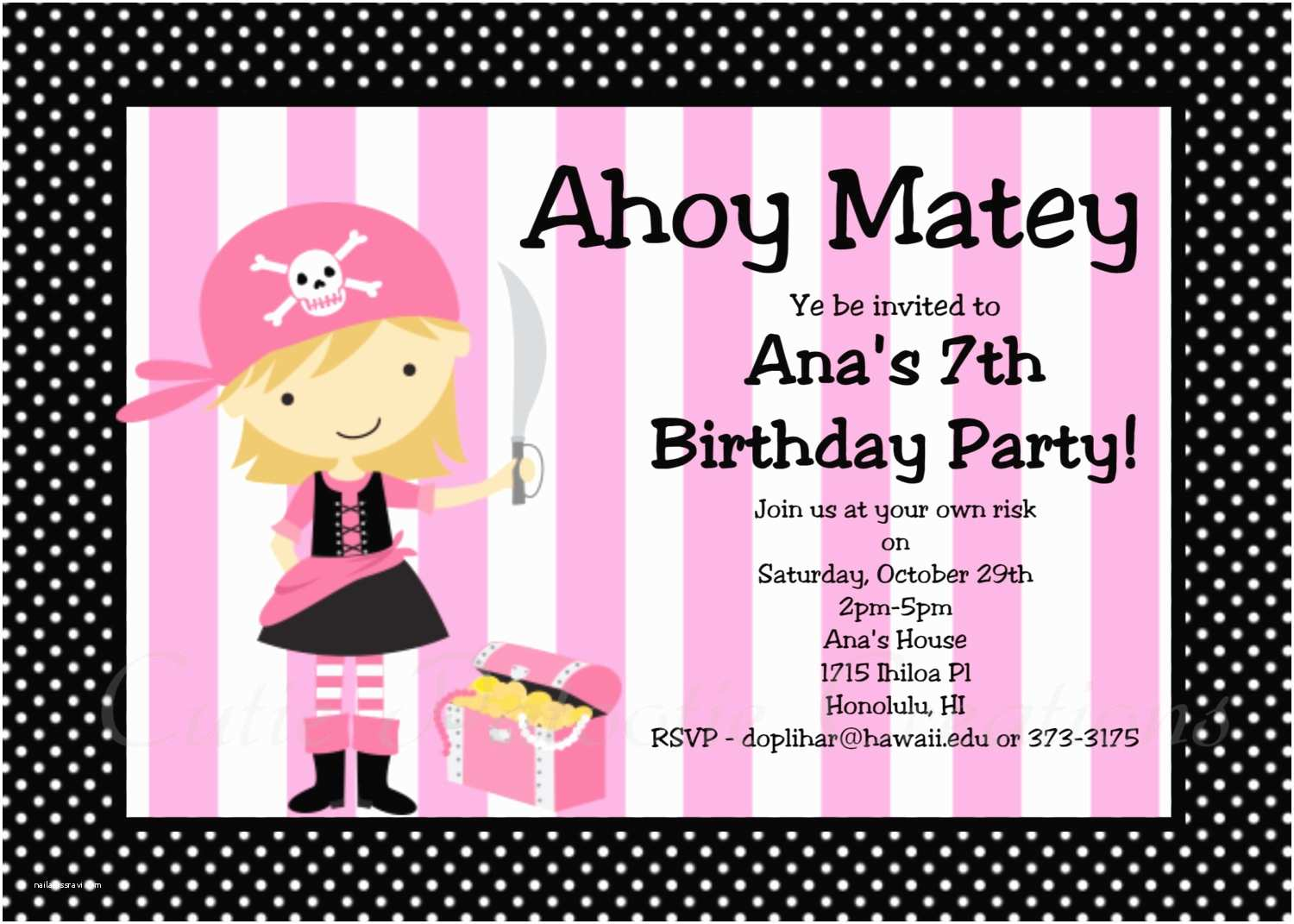 Girl Birthday Party Invitations Pirate Birthday Invitation Girl Pink Pirate Party