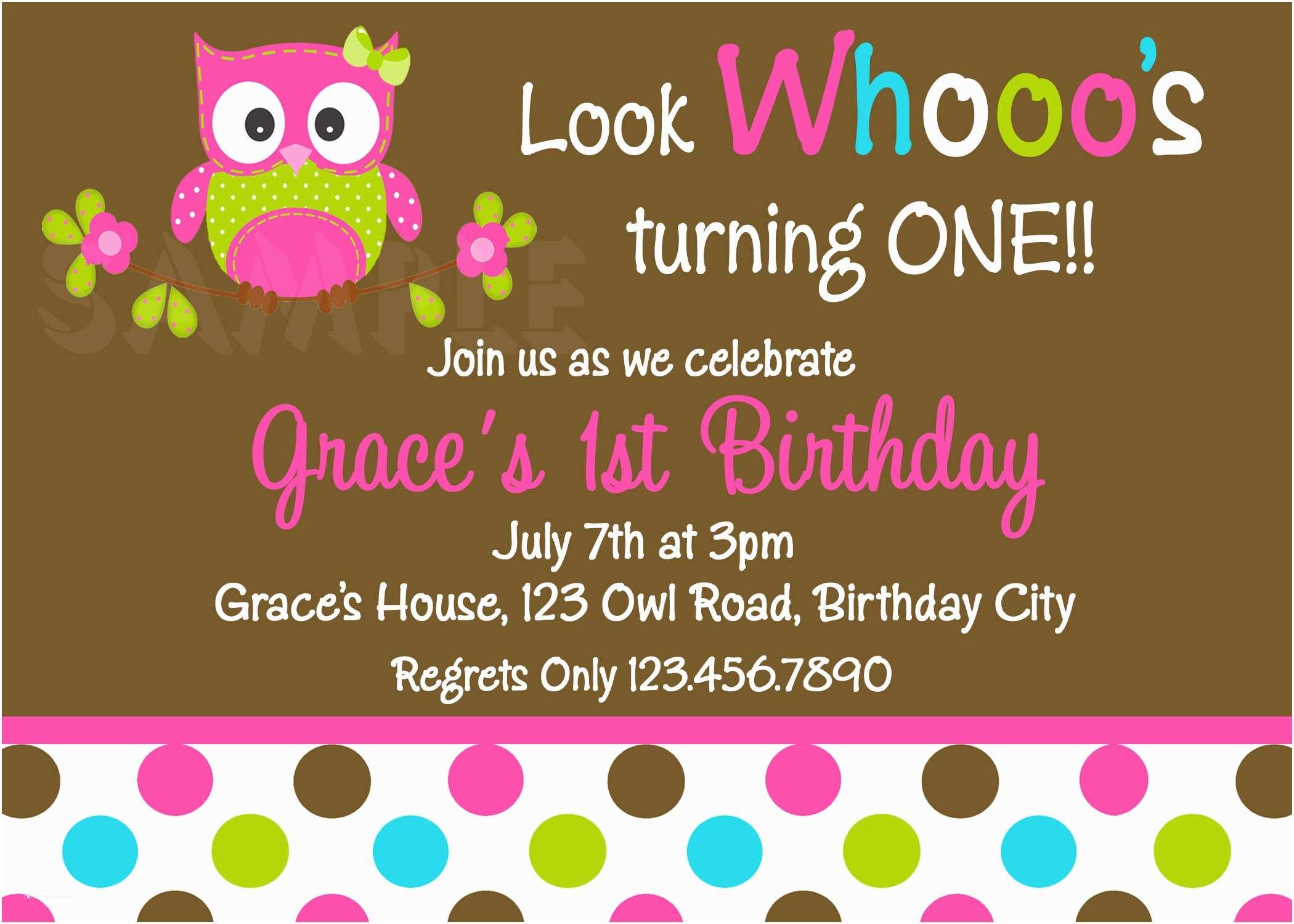Girl Birthday Party Invitations Printable 1st Birthday Invitations Girls Owl Party