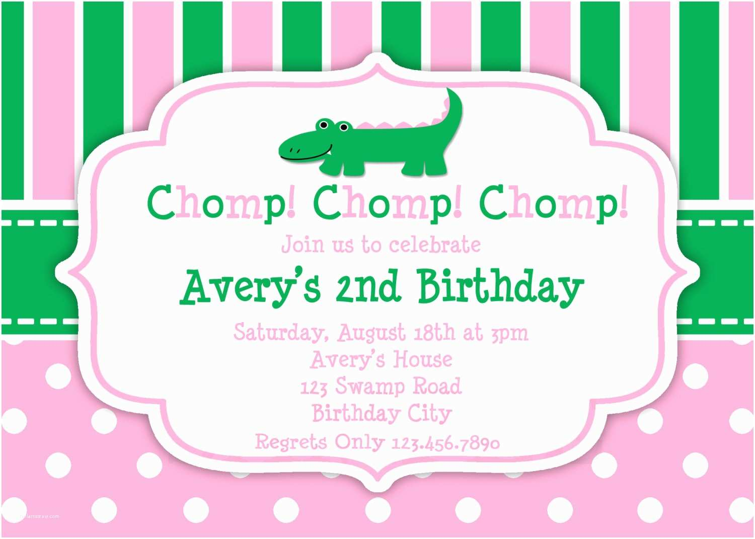 Girl Birthday Party Invitations Printable Birthday Invitations Girls Alligator Party