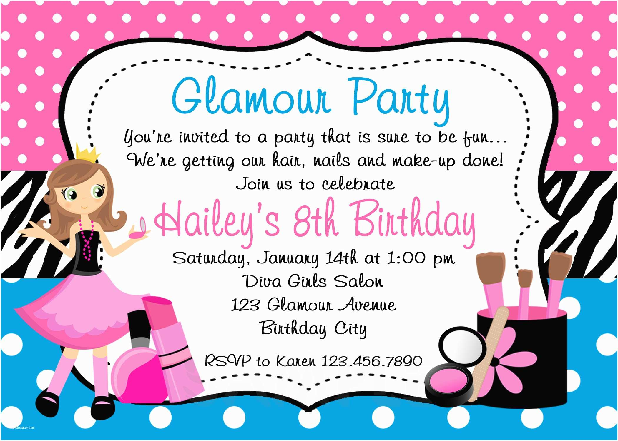 Girl Birthday Party Invitations Printable Birthday Invitations Girls Glamor Beauty Party