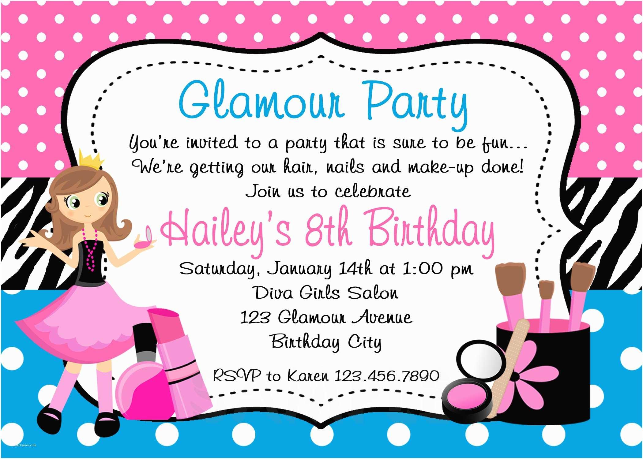 Girl Birthday  Invitations Printable Birthday Invitations Girls Glamor Beauty