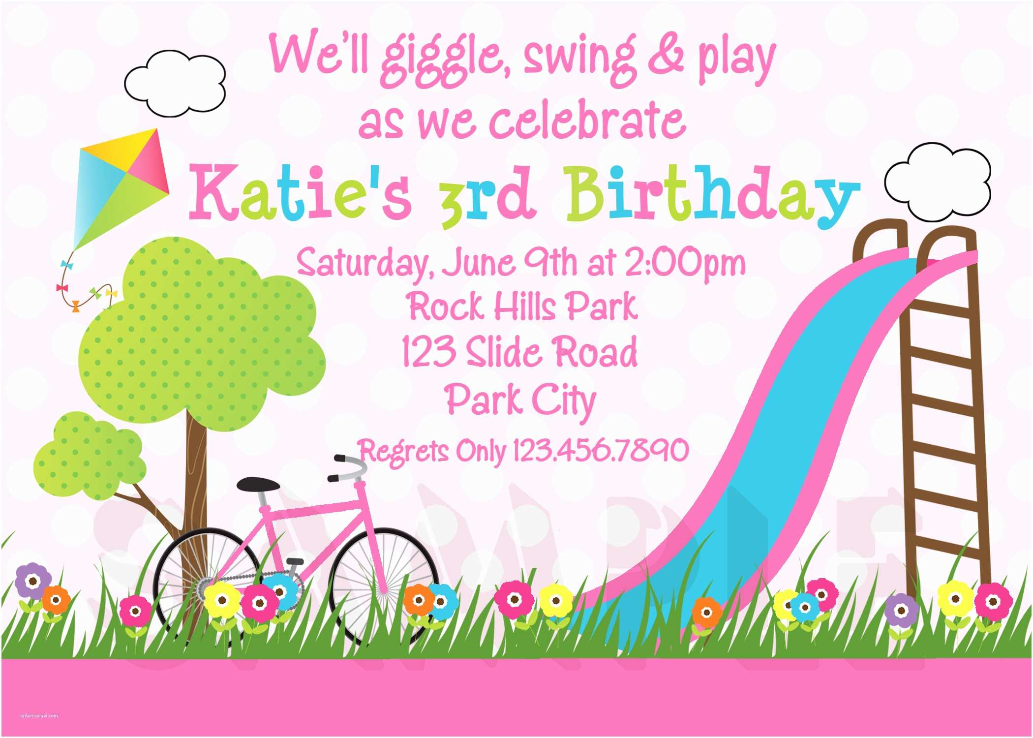 Girl Birthday Party Invitations Printable Birthday Invitations Girls Park Party