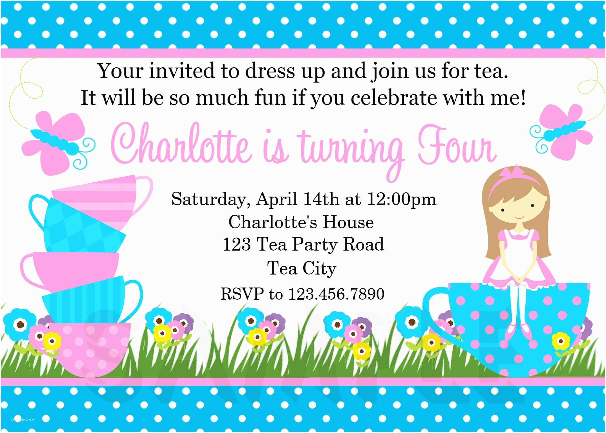 Girl Birthday  Invitations Printable Birthday Invitations Girls Tea