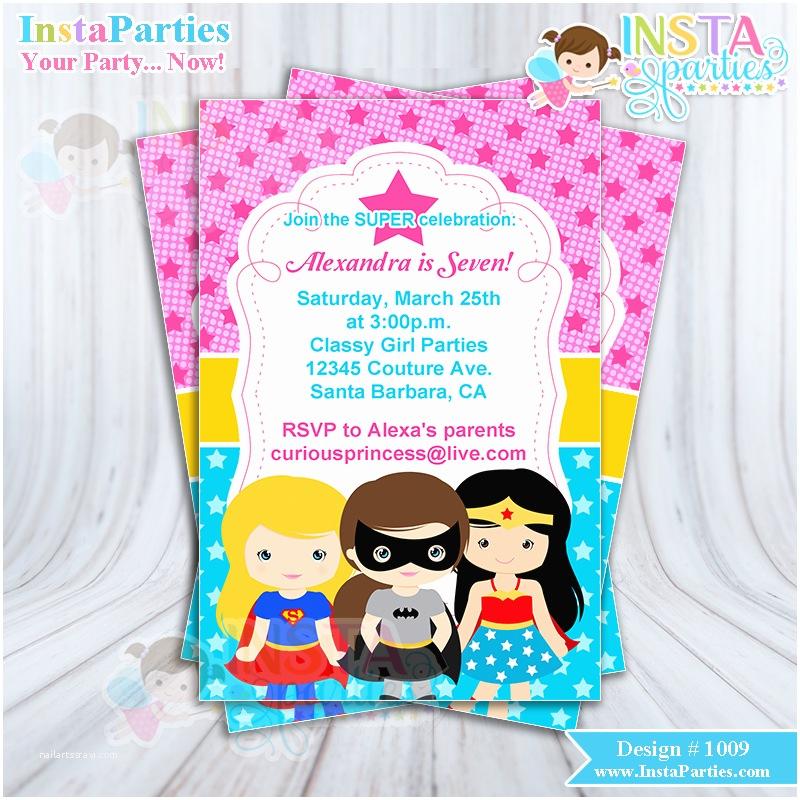 Girl Birthday Party Invitations Superhero Girl Invitations Invitation Super Birthday Party
