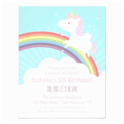 Girl Birthday Party Invitations Unicorn Rainbow Girls Birthday Party Invitations