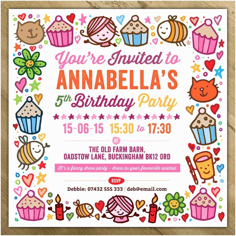 Girls Birthday Invitations Childrens Party Invitations by A is for Alphabet