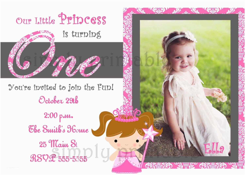 Girls Birthday Invitations Girls First Birthday Invitation for Princess Party