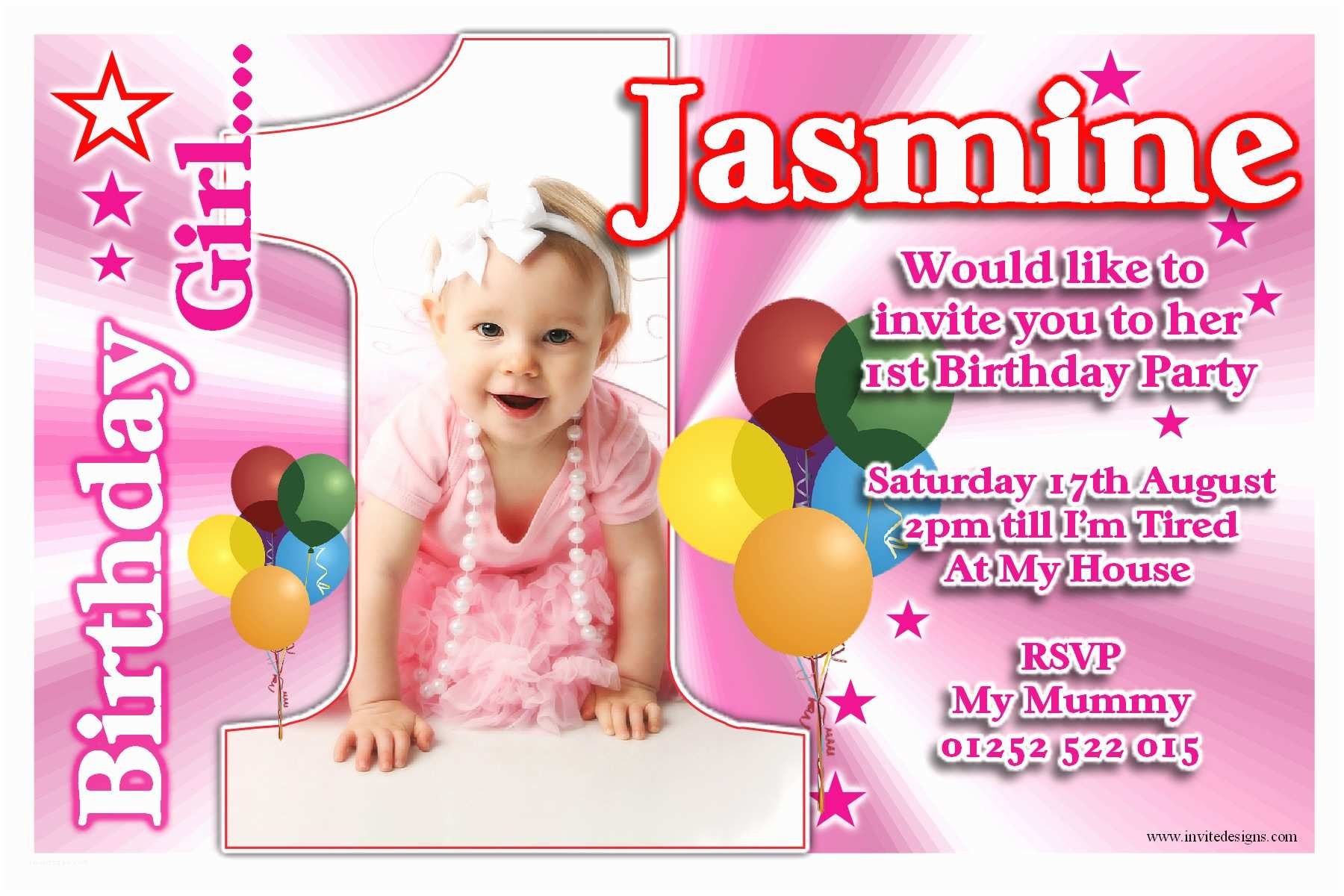 Girls Birthday Party Invitations 1st Birthday Invitations Girl Free Template Personalised