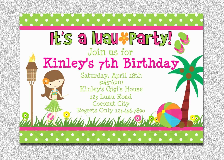 Girls Birthday Party Invitations 20 Luau Birthday Invitations Designs