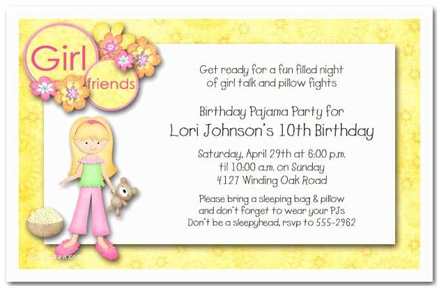 Girls Birthday Party Invitations Blonde Hair Girl Pajama Sleepover