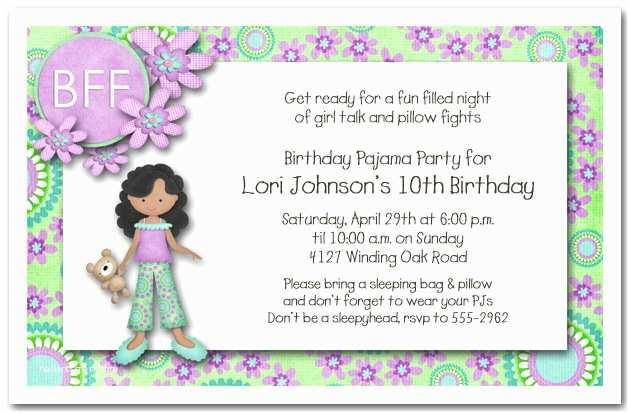 Girls Birthday Party Invitations Dark Skin Girl Pajama Party Sleepover Invitations Girls