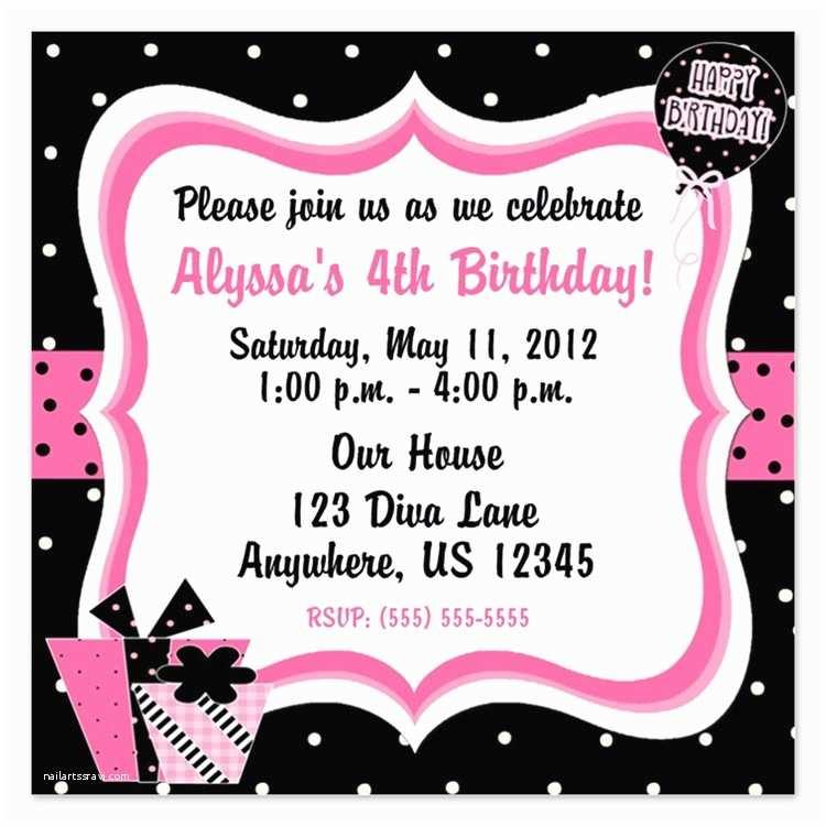 Girls Birthday Party Invitations Girls 4th Birthday Invitations for Girls 4th Birthday