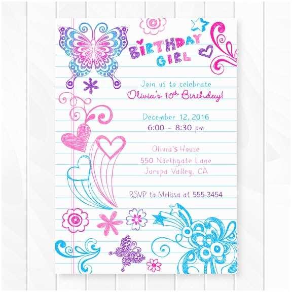 Girls Birthday Party Invitations Notebook Doodles Tween Birthday Invitation Girl Birthday