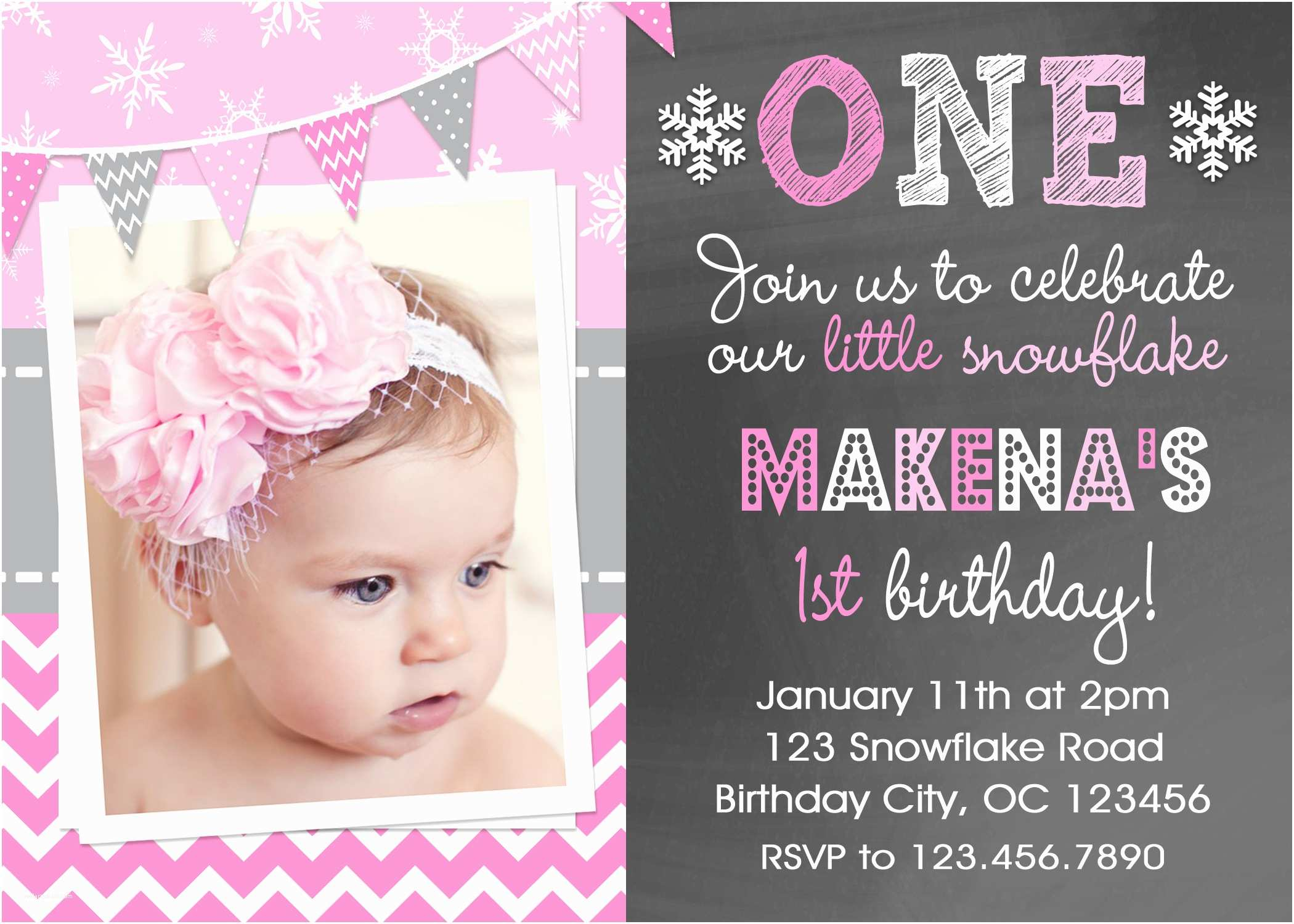 Girls Birthday Party Invitations Snowflake Printable Birthday Invitations Girls Winter