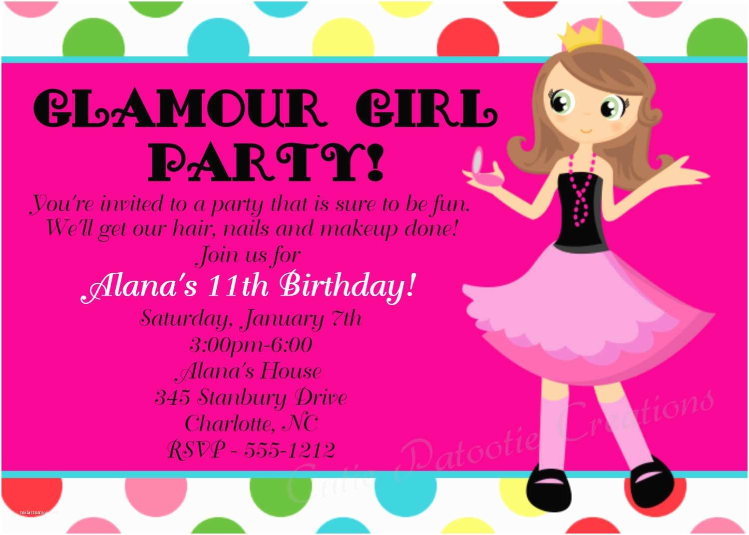 glamour girl birthday invitation spa