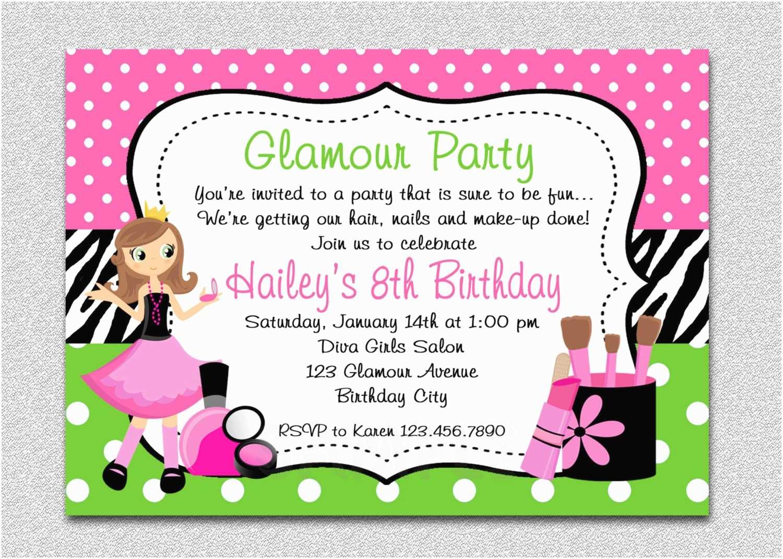 Girls Party Invitations Glamour Girl Birthday Spa Invitation Glamour Girl Birthday