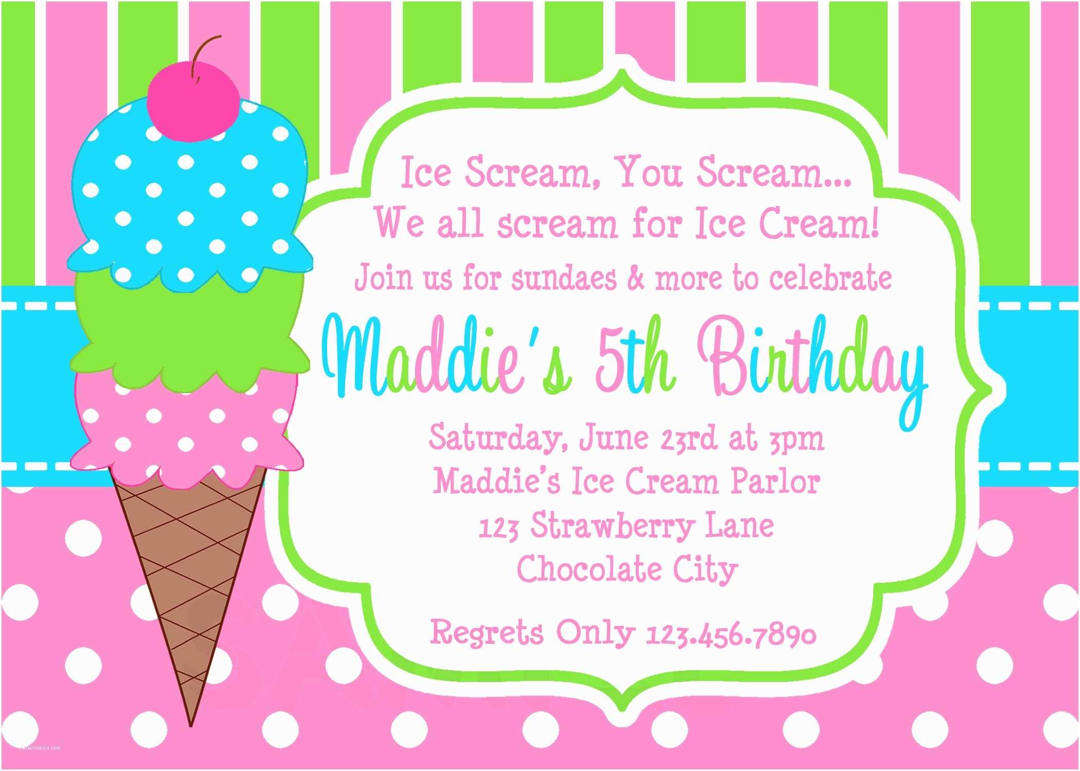 Girls Party Invitations Printable Birthday Invitations Girls Ice Cream Party