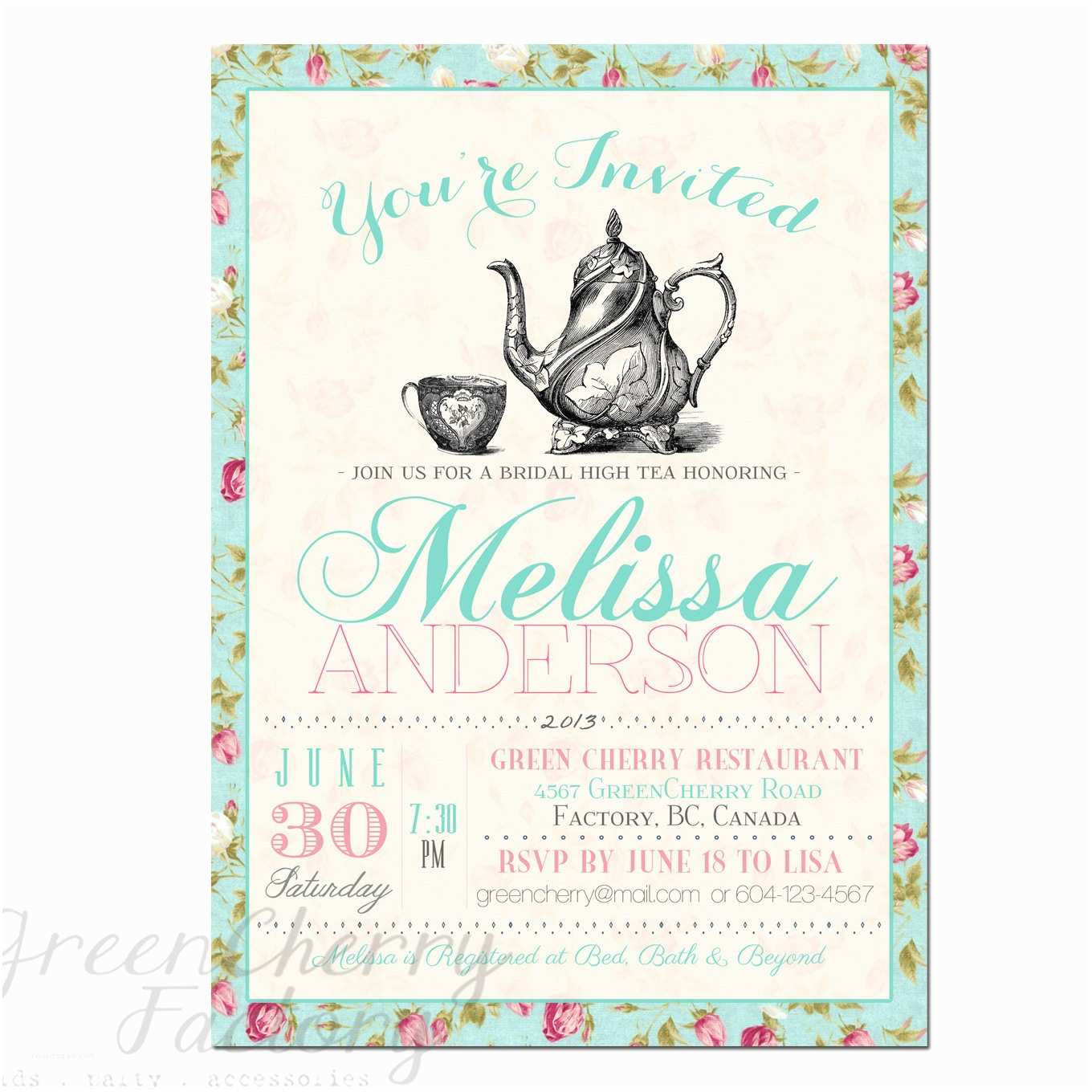 Glamorous Party Invitation Bridal Shower Tea Party Invitations