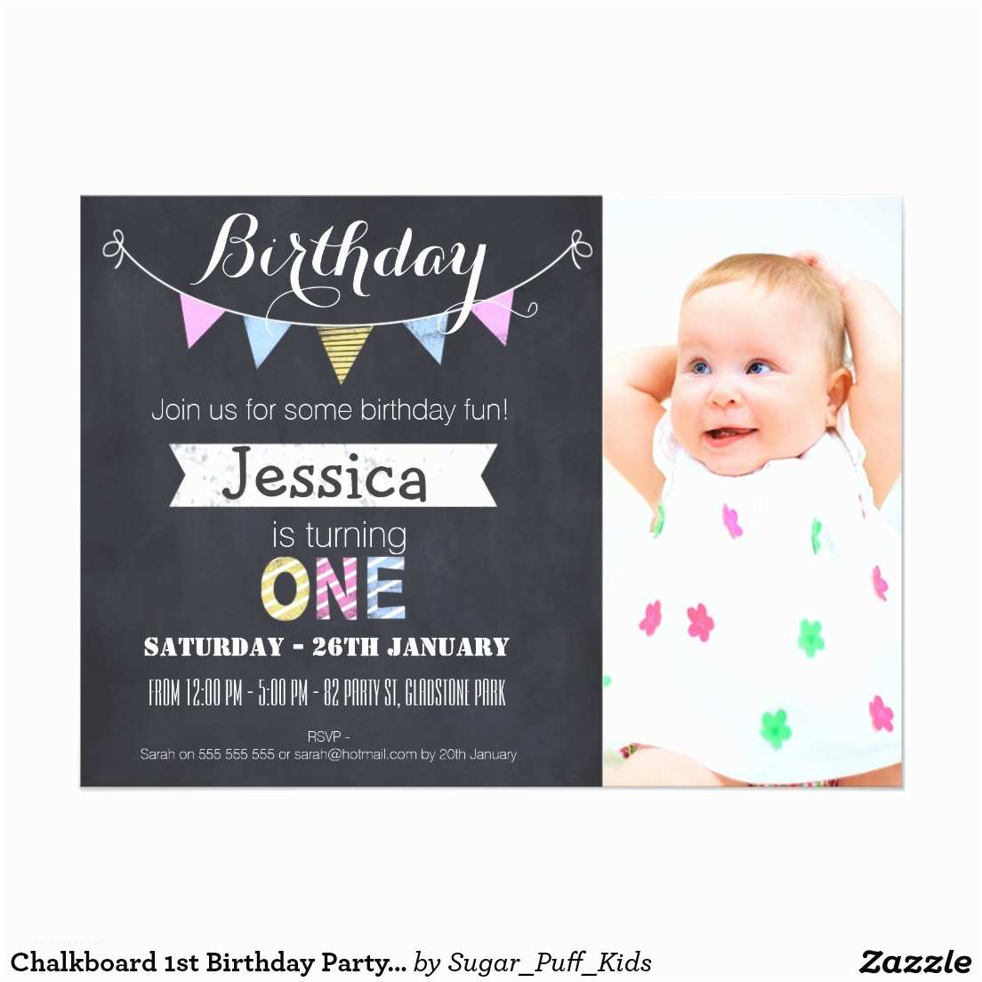 Glamorous Party Invitation First Birthday Party Invitations