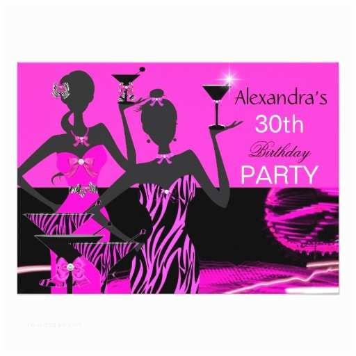 Glamorous Party Invitation Glamorous Party Girl Pink Zebra Martini Birthday 4 5x6 25