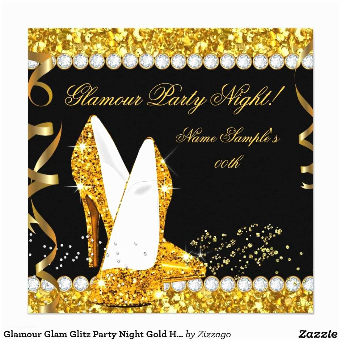 Glamorous Party Invitation Glamour Glam Glitz Party Night Gold High Heels Card