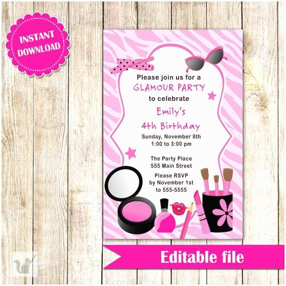Glamorous Party Invitation Glamour Invitation Girl Birthday Party Makeup Invite