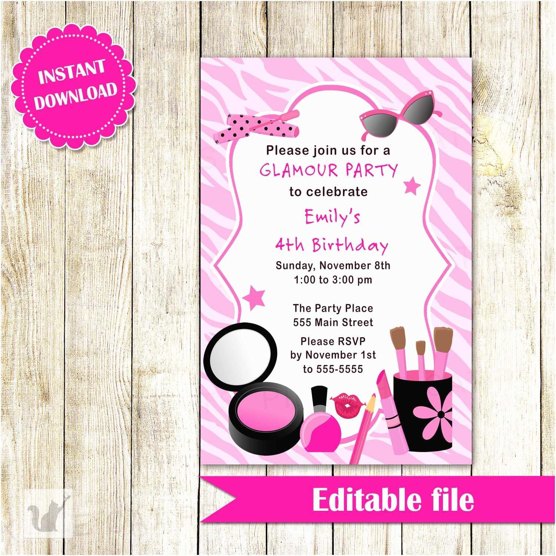 Glamorous Party Invitation Glamour Invitation Girl Birthday Party Makeup Invite