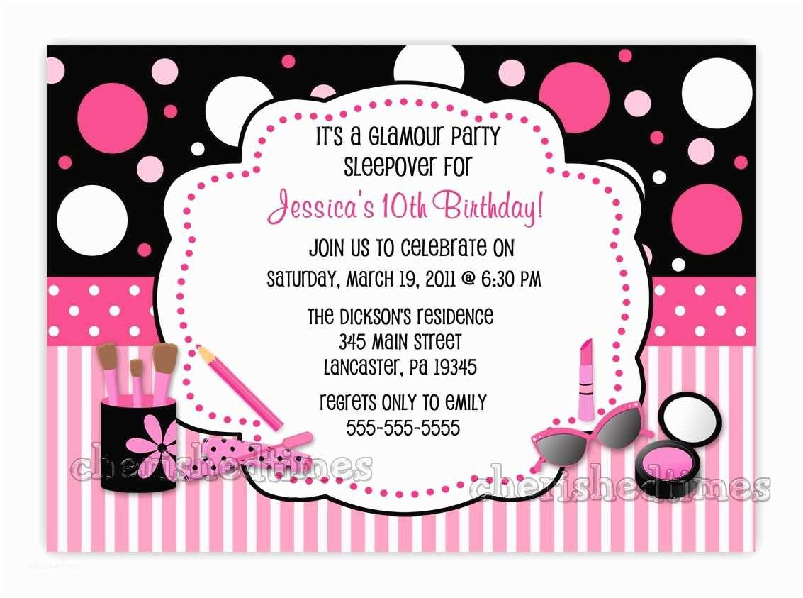 Glamorous Party Invitation Glamour Make Up Birthday Party Invitation You Print
