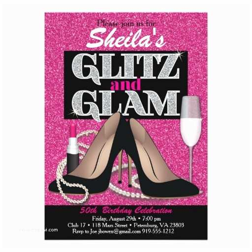 Glamorous Party Invitation Glitz and Glamorous Birthday Invitation