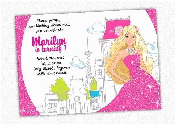 Glamorous Party Invitation Wow 17 Best Images About Barbie Birthday On Pinterest