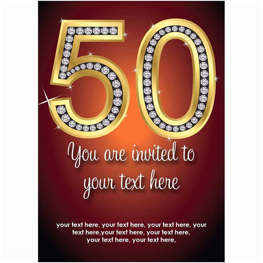 Glamorous Party Invitation Wow Diamante Golden Special Birthday Buzz Invites