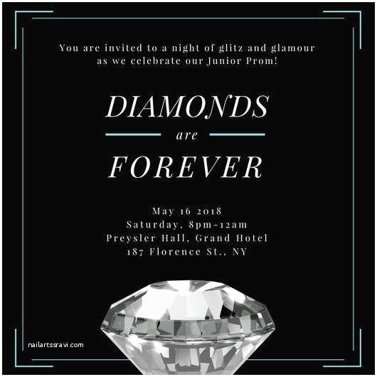 Glamorous Party Invitation Wow Diamond Blue Border Prom Invitation Templates by Canva