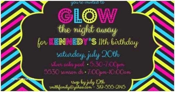 Glamorous Party Invitation Wow Glow Party 5 X 7 Printable Invitation