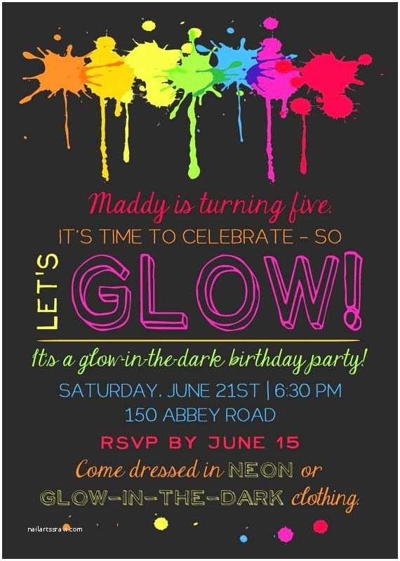 Glamorous Party Invitation Wow Printable Glow In the Dark theme Party Invitation